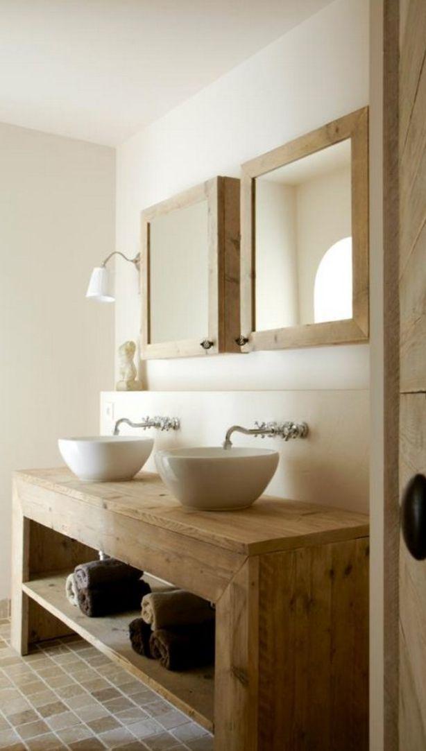 rustic wood vanity open shelves