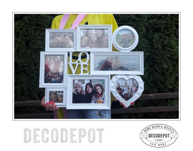 Ramă pentru display poze - format din mai multe rame de lemn mai mici şi cu o inimioară, varianta albă. Photo frame made from wood and  in white version with a heart in the middle. Multiple frames. Gift. Decorative. Photos. Albums. Display. Memories. DecoDepot. Braşov. România. Shop Online.