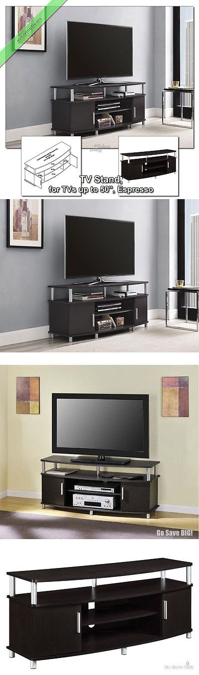 Media Cases and Storage: 50 Inch Tv Stands For Flat Screens Carson Tv Stand Media Console Table, Espresso BUY IT NOW ONLY: $112.07