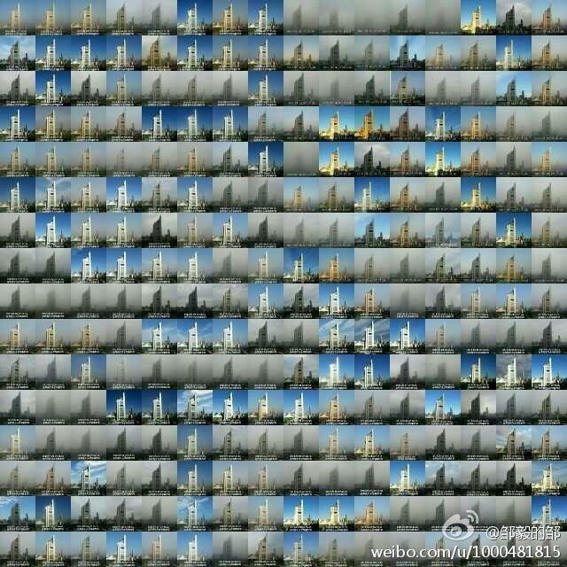 中国・北京の大気汚染状況を克明に伝える、1年間同じ時間・場所で撮影した写真で作られたモザイク - DNA