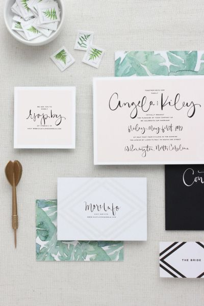 Modern palm leaf printed invitations: http://www.stylemepretty.com/2016/02/08/invite-style-with-these-stationery-trends/: