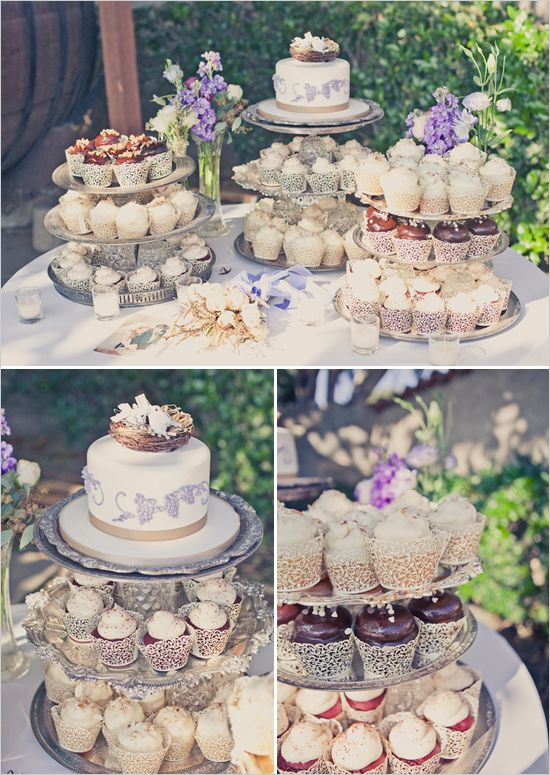 cup cake table.  I always go back and forth on whether a cupcake wedding cake would be tacky...but this one looks pretty nice. :)  Very well done.