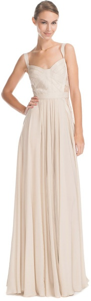 Elie Saab Vanilla Silk Georgette and Lace Gown
