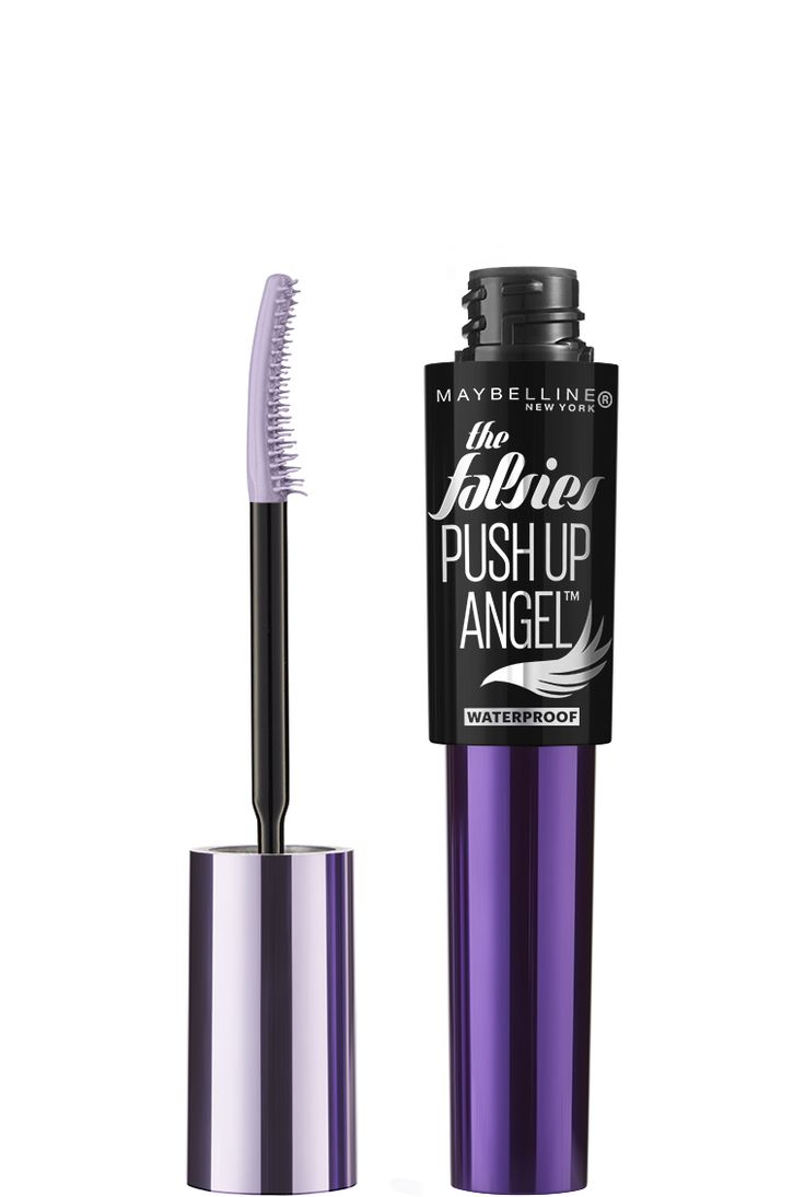 The Falsies Push Up Angel Waterproof Mascara by Maybelline. Curling mascara to lift and plump eyelashes from the roots for a voluminous winged eye makeup look.