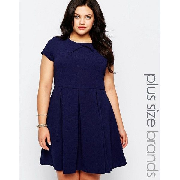 Koko Plus Skater Dress With Pleated Skirt ($49) ❤ liked on Polyvore featuring dresses, navy, plus size, skater dress, navy plus size dress, navy blue dress, pleated dresses and womens plus dresses
