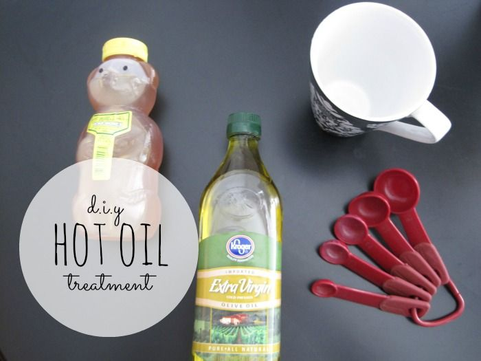 DIY Hot Oil Treatment  1 T honey, 2 T oil, mix, nuke 8-10 seconds. Shampoo hair, work in treatment, cover and leave for 30 minutes, rinse and condition.  Change amount of ingredients depending on how thick/long your hair is.