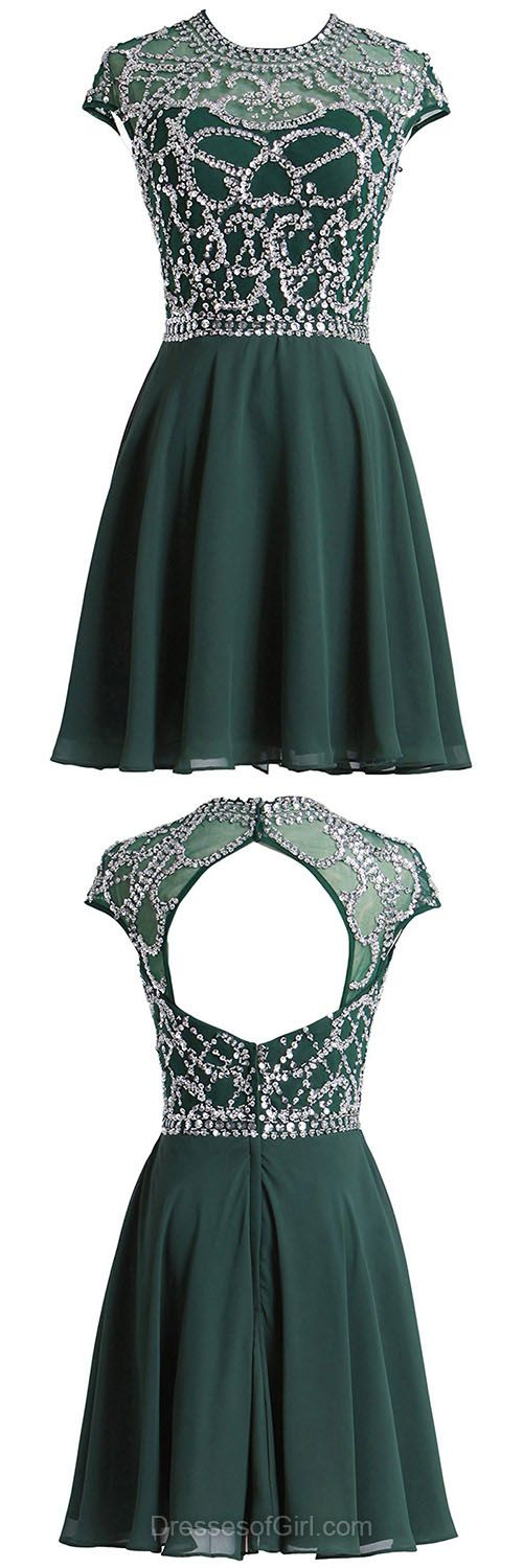 Unique Prom Dresses, Short Homecoming Dresses, Open Back Sexy Party Dresses, Dark Green Cocktail Dress, Modest Evening Gowns