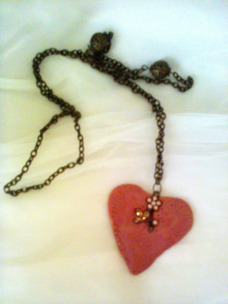 Pink Heart, necklace made of cernit clay and nail polish
