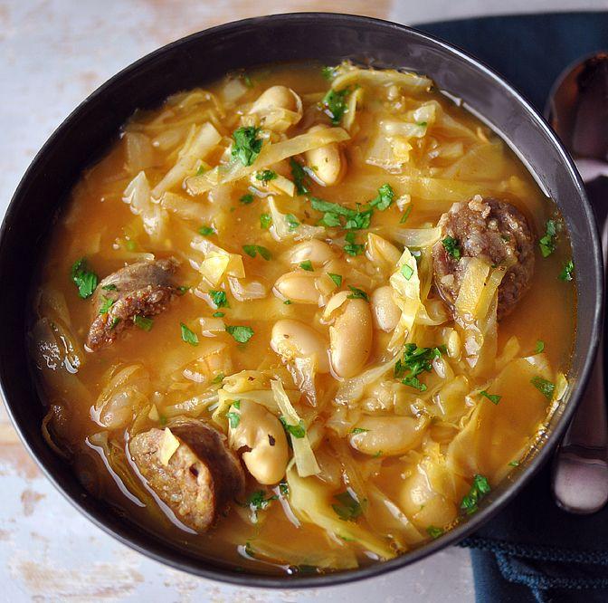 Cabbage, Italian White Bean & Italian Sausage Soup — Stick. To. Your ...