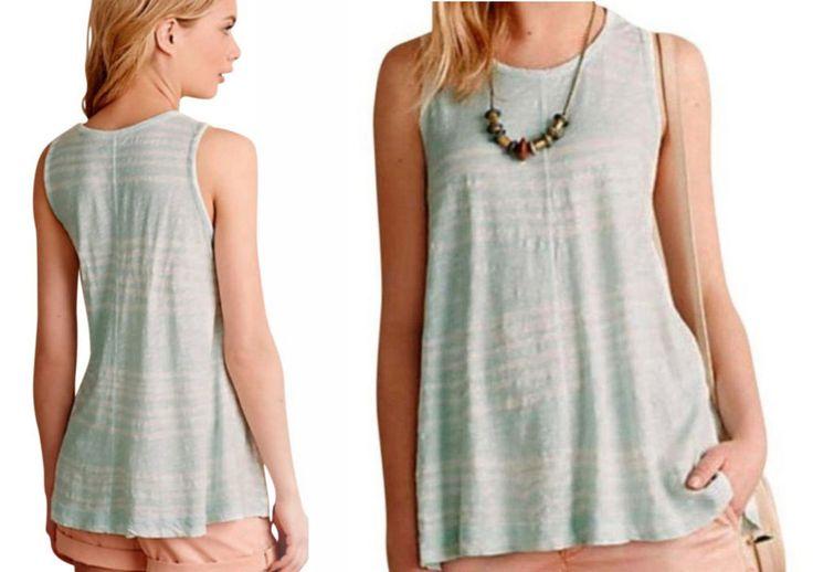 Anthropologie Shibori Swing Tank Petite Medium P6 P8 Top Mint Shirt Soft Cotton #LeftofCenter #TankCami #Casual