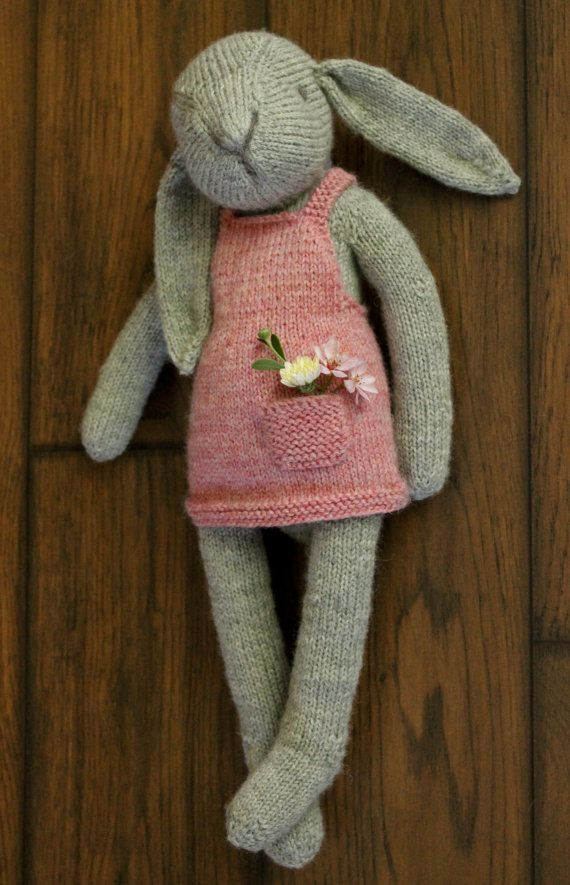 Rabbit Doll with Dress INSTANT DOWNLOAD PDF PATTERN. This is a listing for the instructions on how to create the item in the photos, not for the finished item. Pattern currently in English only. Claire the Hare is a vintage-style knitted rabbit doll who fits perfectly in little arms,