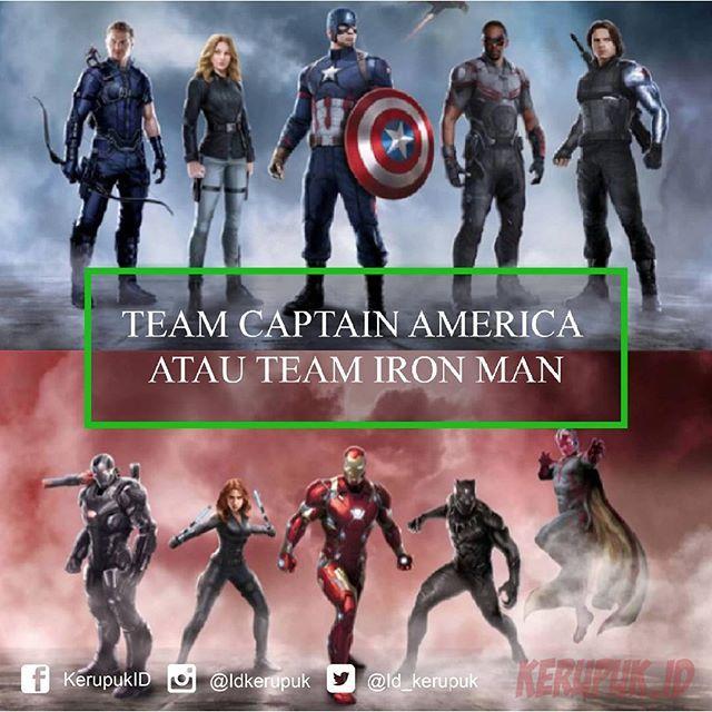 Hari ini kan Captain America: Civil War tayang di Indonesia. Nah sampai sejauh ini kamu udah mutusin belum buat mihak ke tim siapa? kalau kamu udah tau TEAM mana yang kamu pilih Share di komentar yaa. kalau mau tau siapa yang menang, mending kamu tonton aja filmnya.  #news #infografik #berita #beritaharian #infographic #infografikk #infographics