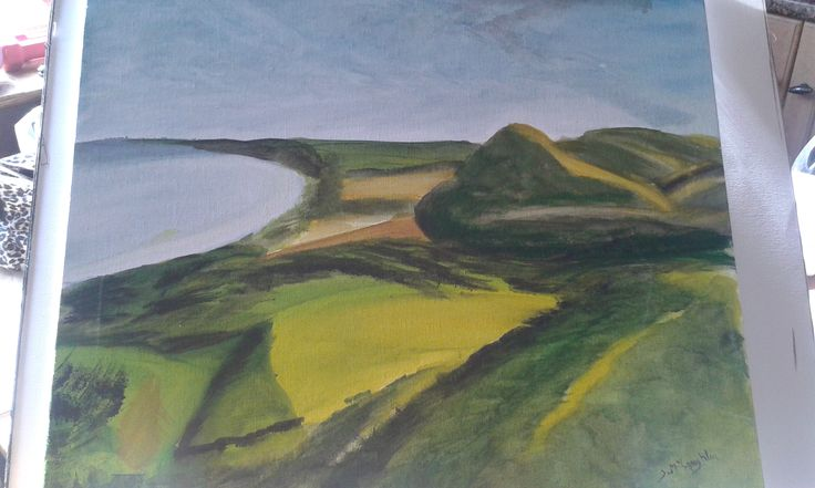 fields and hills painting