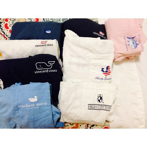t-shirts from vinyard vines, southern marsh, southern proper, and southern tide