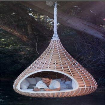 Las ventas calientes redondas ratán cama al aire libre columpio al aire libre…