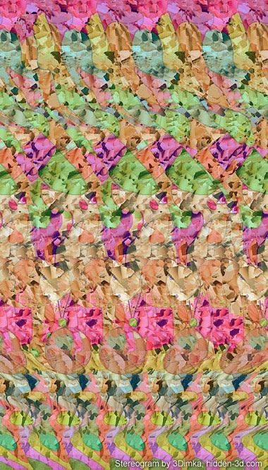 Stereogram by 3Dimka: Balancing. Tags: girl, gymnast, ball, stairs, hidden 3D picture (SIRDS)