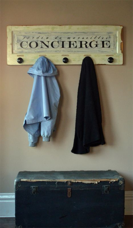 Use this unique wall mounted coat rack to organize your coats and bags!  Hand crafted