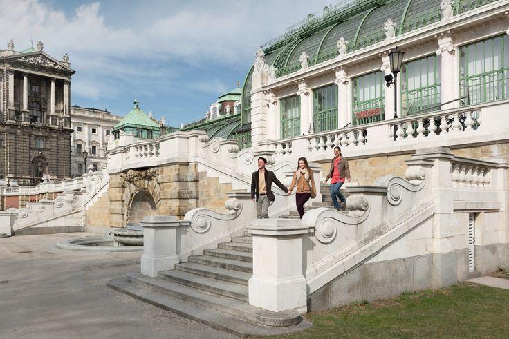 In front of a botanical conservatory called Palmenhaus in Vienna, Austria. © Österreich Werbung/ Peter Burgstaller #feelaustria