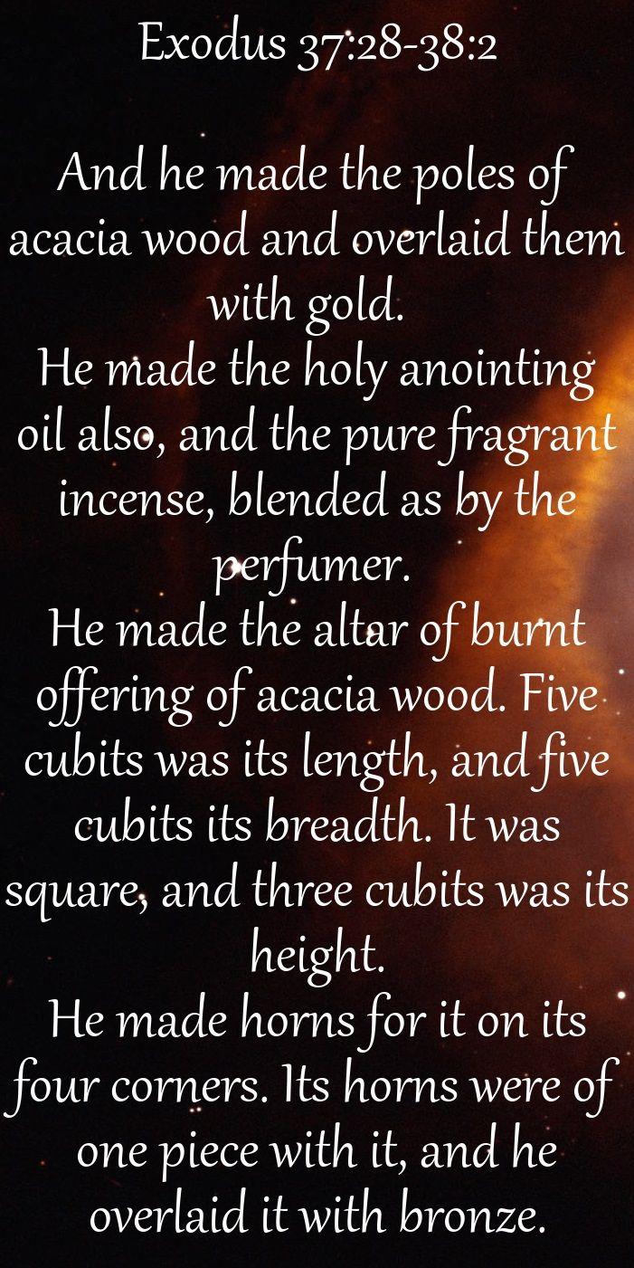 Exodus 37.2838.2 And he made the poles of acacia wood