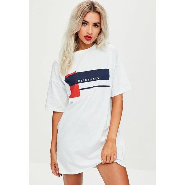 Missguided Originals Oversized T Shirt Dress ($35) ❤ liked on Polyvore featuring dresses, white, white cotton dress, cotton tee shirt dress, cotton t shirt dress, oversized t-shirt dresses and white dress