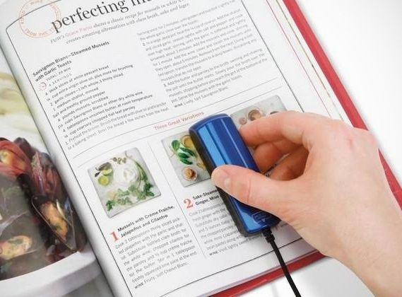 Handheld scanner so you don't have to ruin the book spine