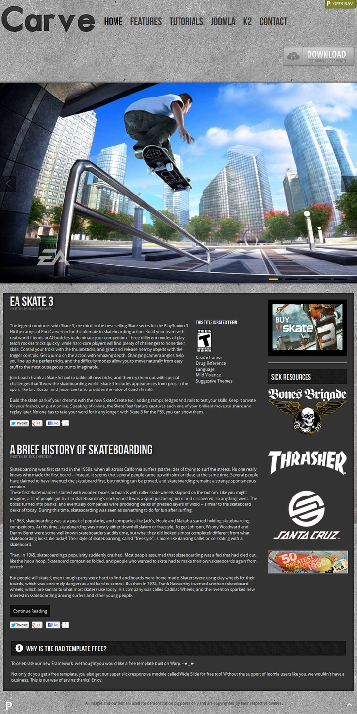 Carve is a #responsive #free Joomla #template created for anyone who wants to develop a sleek and professional site. Focused on skateboarding, but can be anything you want!