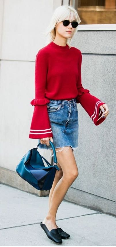 Short jean skirt with fun, red top.