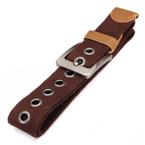 Mens Canvas Cowhide Trimmings Single Buckle Woven Belts