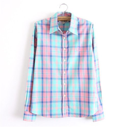 Long Sleeve Turn Down Collar Plaid Button Down Shirt