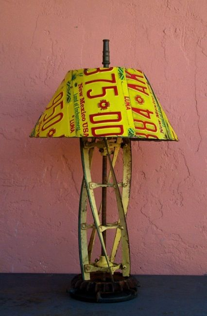 old lawnmower parts and license platesLampshades, License Plates, Tables Lamps, Licen Plates, Lights Ideas, Lawns Mower, Vintage Industrial, Man Caves, New Mexico
