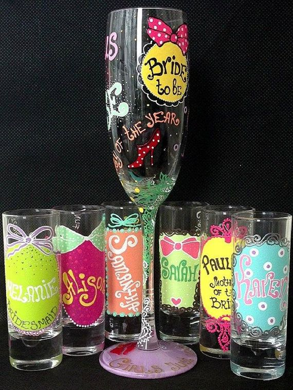 Candy Personalized Hand Painted Shot glasses set Wine by AlenaShop, $23.99 wedding favours, invitation, hen do party birthday 16th 18th 20th 21sttable setting