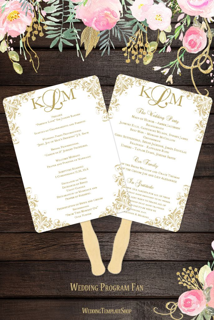 wedding planning checklist spreadsheet free%0A Wedding Program Fan Kaitlyn Champagne Gold Monogram