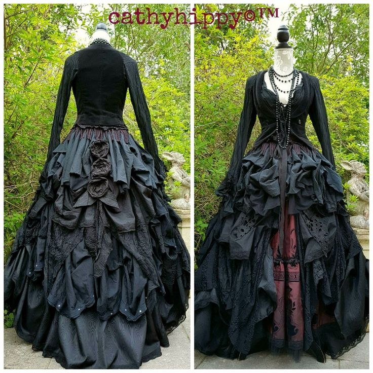 Fabulously quirky ornate unique OOAK cathyhippy ruffle bustle asymmetric layered statement lagenlook gothic steampunk gypsy overskirt, Freesize One Size Onesize OSFA 8-30, made from hitched layers of various fabrics, including taffeta, cottons, tulle netting and floral lace, with flower & leaf bustle detail to back. | eBay!