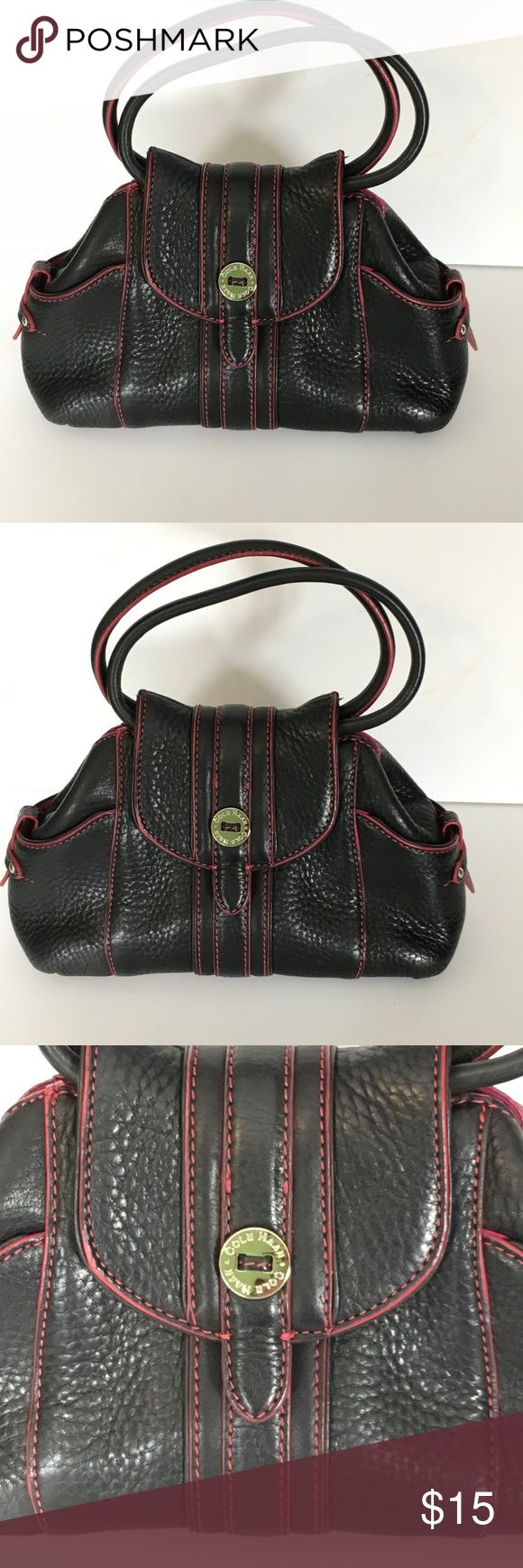 Small Cole Haan clutch purse black pink leather You are viewing a BEAUTIFUL Cole Haan purse This is a small clutch style purse The color is black with magenta pink stitching Magenta pink interior  Perfect for a night out to throw your wallet and phone in! Cole Haan Bags Clutches & Wristlets