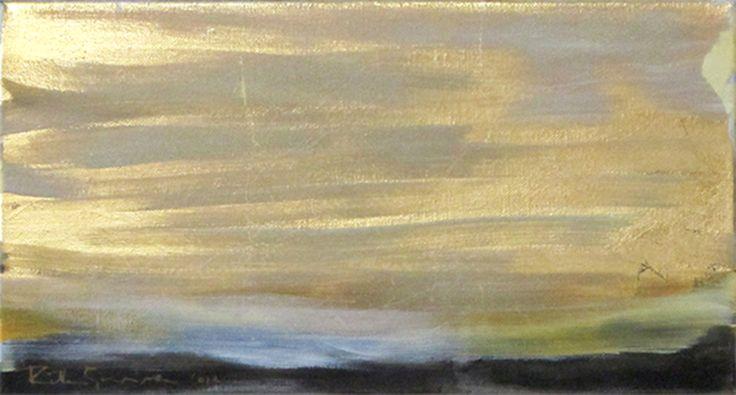 Winterlight, oil and metal leaf on canvas, 24x42cm, Riikka Soininen 2012