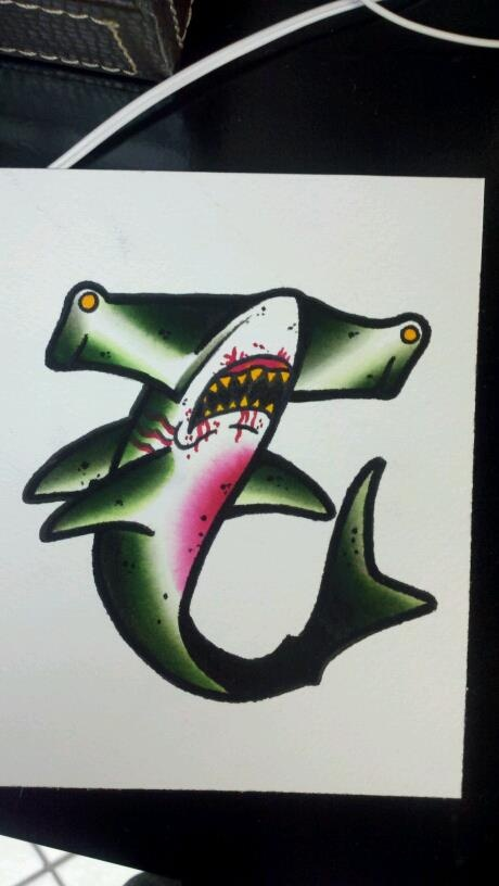 hammer head shark tattoo design