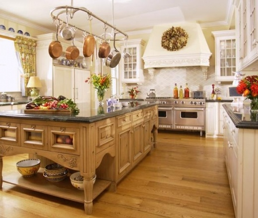 Pale Yellow Country Kitchen: Traditional Island Style Pale Yellow Kitchen, White