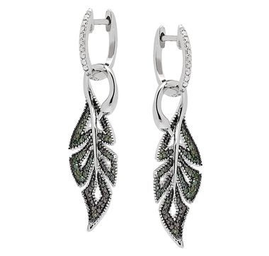 Green Diamond Sterling Silver Drop Earrings