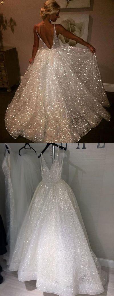 Sequins V-Neck White Backless Prom Dresses,A-Line Sleeveless Wedding Dresses,Elegant Plus Size Evening Dresses#vneck#white#sequins#sleeveless#elegant#backless#plussize#simple#vintage