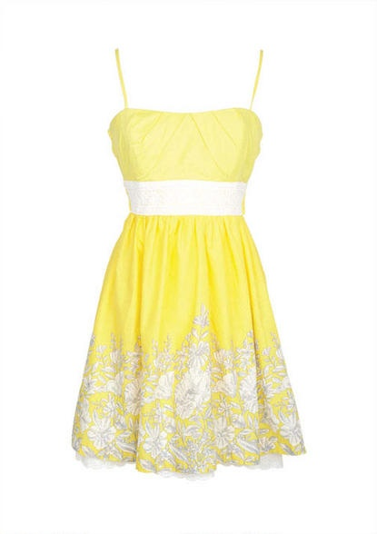 Yellow Floral Spring Dress.............I DON'T LIKE THE COLOR YELLOW, BUT I WOULD WEAR THIS DRESS.