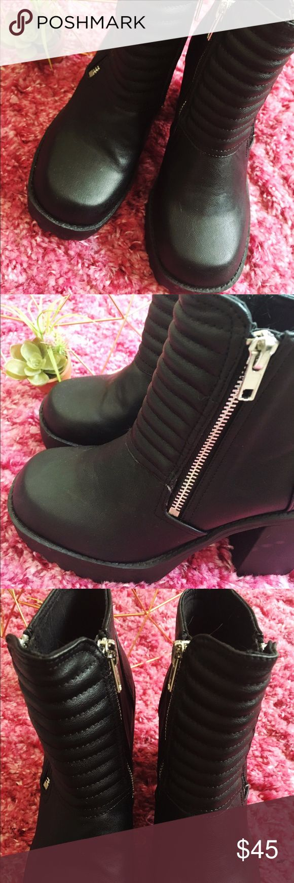 Divided by H & M black leather, chunky heel boot. Black, thick leather, chunky heel, functional zipper, ankle boot. Only worn once. Lou Teasdale pictured wearing in photo. Divided Shoes Ankle Boots & Booties