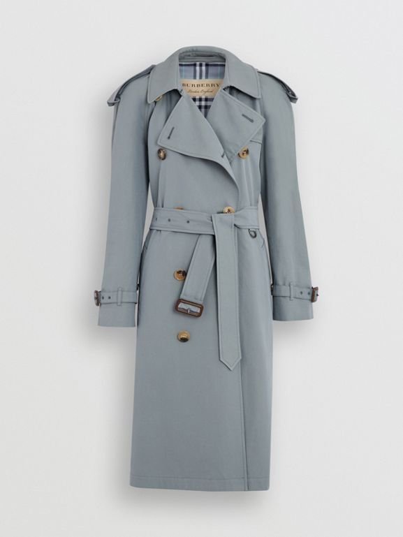 8dc9ff6a1 Wool-lined Tropical Gabardine Trench Coat in Dusty Blue - Women | Burberry  United States - cell image 3