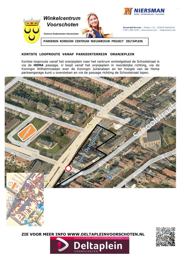 Kortste looproute vanaf het oranjeplein naar het centrum | www.deltapleinvoorschoten.nl