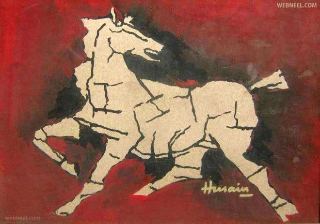 horse mf hussain painting