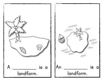 Emergent Reader Book #1: LANDFORMS *Kindergarten or First Grade Social Studies. (color, black & white, plus write in versions included.) $