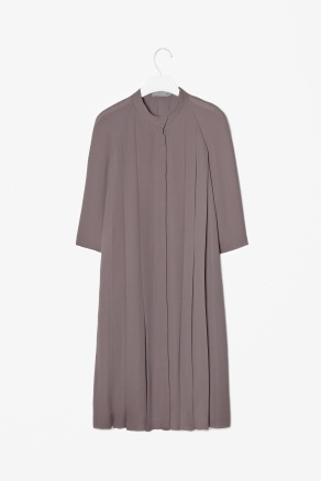 High-neck pleat dress