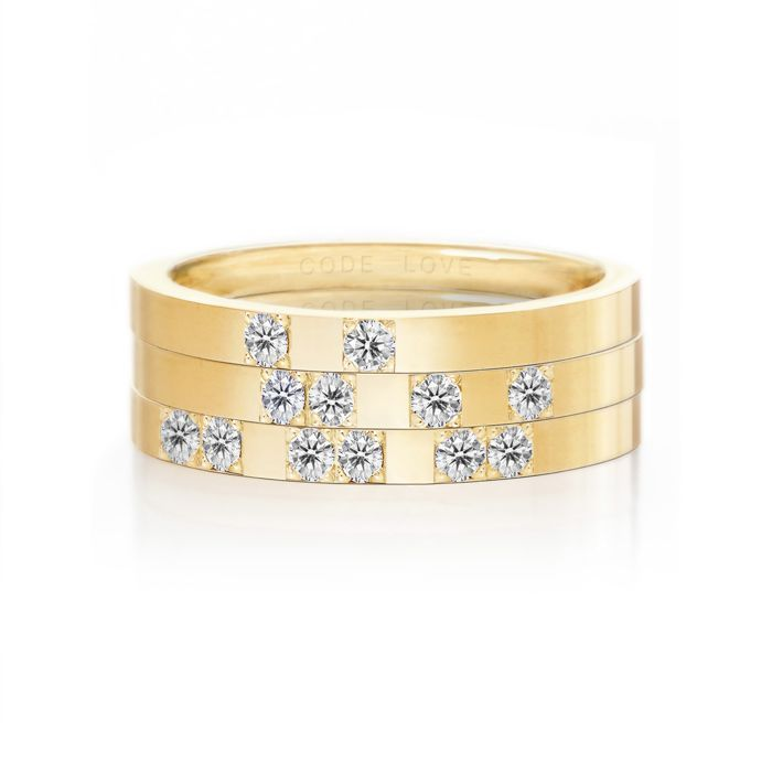 CODE LOVE 'I DO' Morse Code Union Ring - These unique and beautiful Union Rings have been designed to stack. There are 26 rings in the collection each representing a letter of the English alphabet. Designed using brilliant cut diamonds set in either rose, yellow or white gold you can create whatever your heart desires! www.codelove.com.au