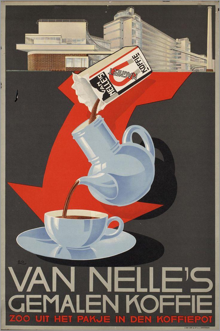 Titel:Van Nelle's gemalen koffie Maker: opdrachtgever/adverteerder:   Erven de Wed. J. van Nelle (Rotterdam) ontwerper/artdirector:   Gaillard, Emile drukker:   L. van Leer & Co Trefwoord: koffie Verv.jaar:1925-1950