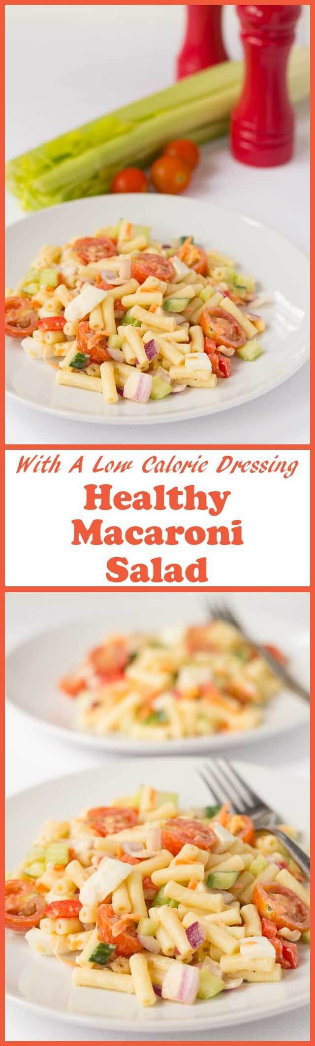 This healthy macaroni salad recipe has all the flavours and creaminess that you would expect from the classic salad but it's made with a lower calorie dressing. | Neil's Healthy Meals