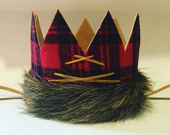Ah - in love!!  This medium size lumberjack birthday crown is the perfect, sweetest, yet rugged, addition to your little ones celebration!! Perfect for lumberjack parties, camping parties, bear/forest parties, wilderness themed parties, and more!  This medium size crown is buffalo plaid flannel on the outside and gorgeous tan felt on the inside!  Circling the crown is deluxe caramel-brown faux fur for a wild effect :) Crown is stitched in the back with mustard thread and the mustard 1/8 s...